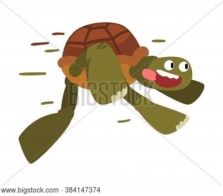Funny Turtle Running, Fast Tortoise Animal Cartoon Character Vector Illustration On White Background
