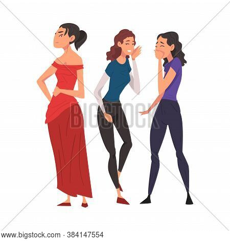 Two Girl Friends Gossiping And Giggling Behind Beautiful Woman In Red Dress Cartoon Vector Illustrat
