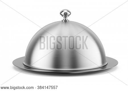 Closed silver steel serving Cloche isolated on a white background. 3d rendering