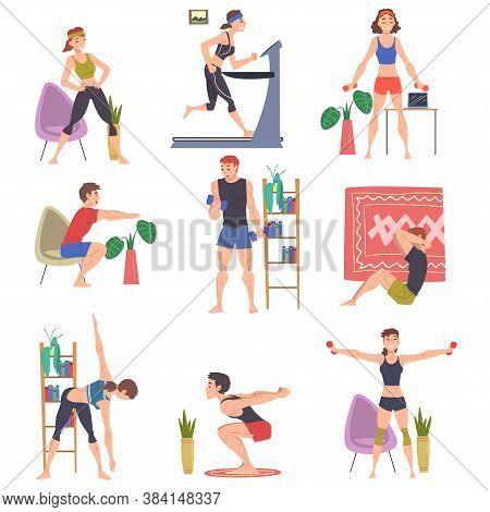 People Doing Sports At Home Set, Men And Women Physical Activity And Healthy Lifestyle Concept, Stay