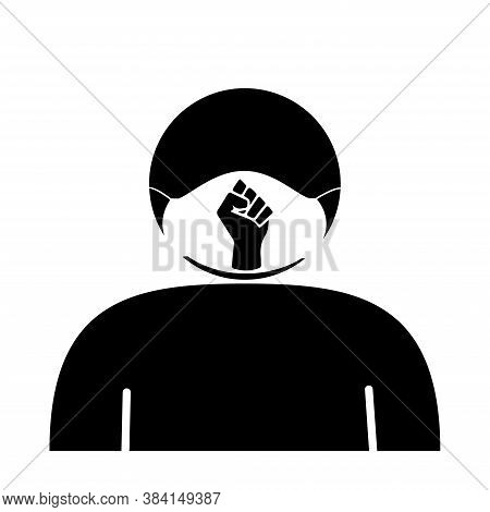 Stick Figure Face Mask With Blm Fist. Icon Depicting Stick Figure Person Wearing Facial Covering Wit