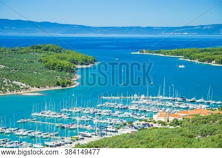 Panoramic View Of Marina And Beautiful Blue Bay On The Island Of Cres In Croatia