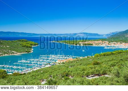 Panoramic View Of Beautiful Blue Bay, Marina And Town Of Cres On The Island Of Cres In Croatia