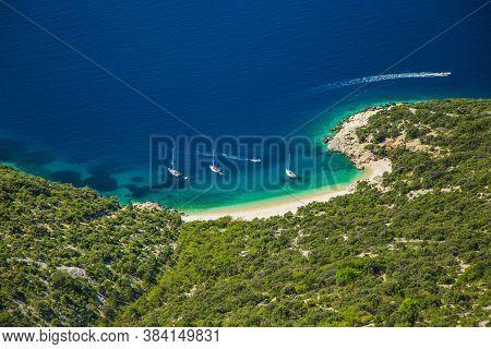 Croatia, Island Of Cres On Adriatic Sea, Amazing Panoramic View Of Azure Lagoon And Beach Under Lube