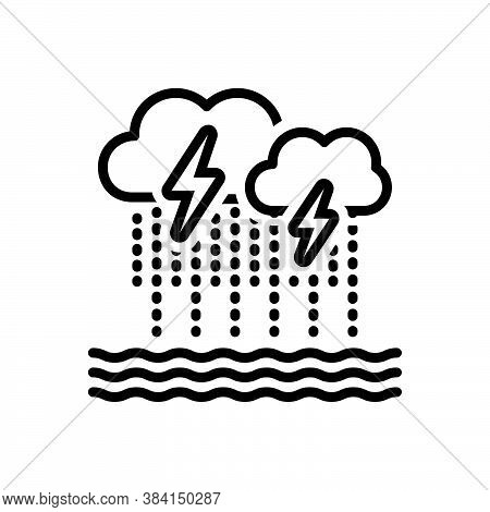 Black Line Icon For Severe Bad Weather Cloud Rain Thunder Heavy-rainfall Downpour Disaster Monsoon F