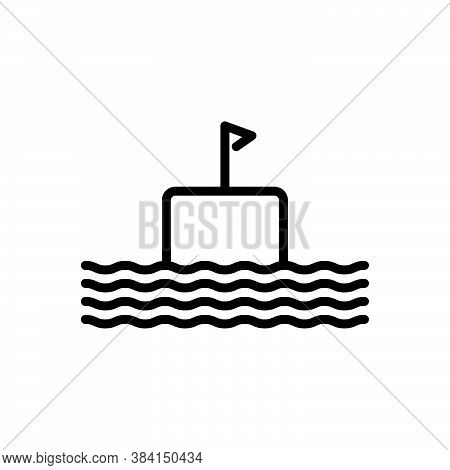 Black Line Icon For Float Submarine Cruise Sailing-boat Cargo Pigboat Nautical Vessel Marine Boat Fl