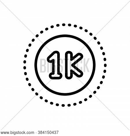 Black Line Icon For Grand Thousand Mile Number Label Count Measure Large-integer