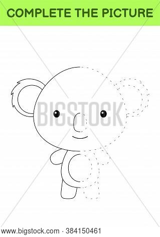 Complete The Picture Of Cute Koala. Coloring Book. Copy Picture. Handwriting Practice, Drawing Skill