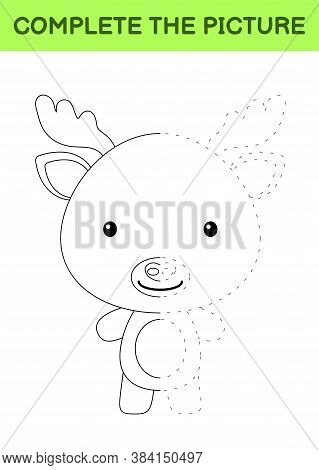 Complete The Picture Of Cute Moose. Coloring Book. Copy Picture. Handwriting Practice, Drawing Skill