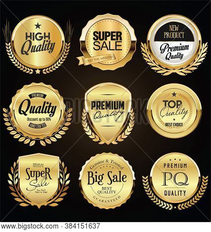 Collection Of Retro Gold And Black Badge And Label Design 0362.eps