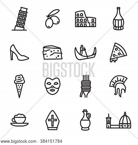 Italy Sign Black Thin Line Icon Set Include Of Pisa, Colosseum, Spaghetti And Mask. Vector Illustrat