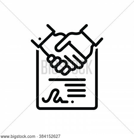 Black Line Icon For Consensus Agreement Accord Solidarity Settlement Deal Handshake Cooperation Busi