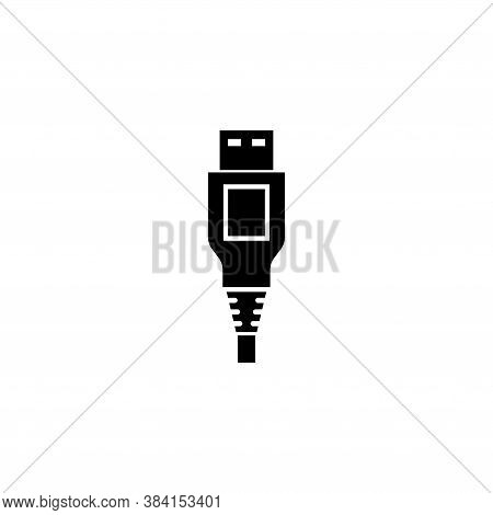 Usb Cable Plug Power Connector Type A. Flat Vector Icon Illustration. Simple Black Symbol On White B
