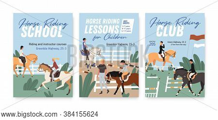 Collection Of Colorful Posters For Horse Riding School Or Lessons For Adults And Children. Set Of Ve