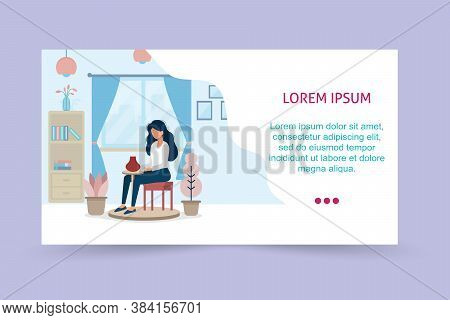 Running Landing Page Template. Ceramic Craft Master, Ceramics Pottery. The Girl Is Engaged In Potter