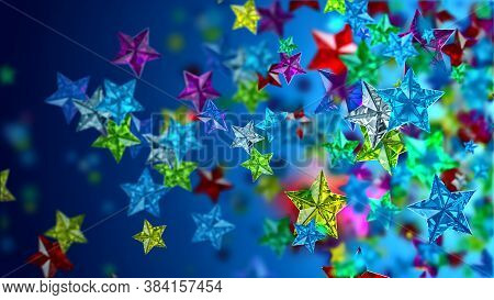 Glistening Colourful Glossy Glass Stars On The Blue Backdrop For Any Celebration Or Festive Backgrou