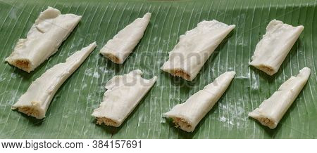 South Indian Sweet Called Patholis Made Of Steamed Rice Flour And Stuffed With Coconut, Jaggery And