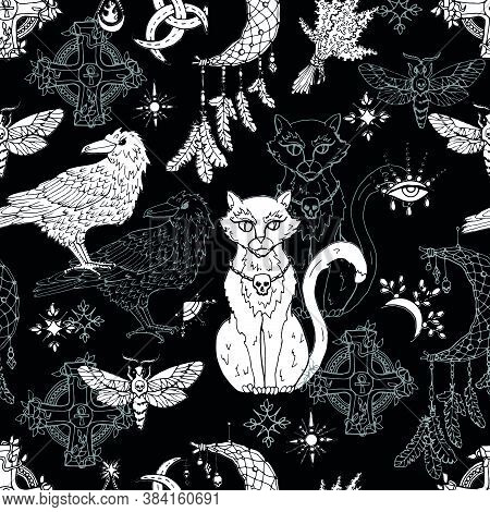 Seamless Pattern With Mystic Animals - Cat, Crow And Moth, Dreamcatcher And Witch Magic Objects. Mys