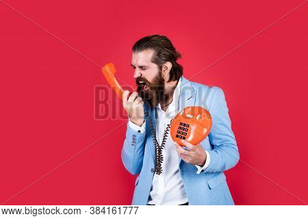 Organise Your Life. Young Man Talking On Telephone. Businessman Talking On Vintage Phone. Male Talki