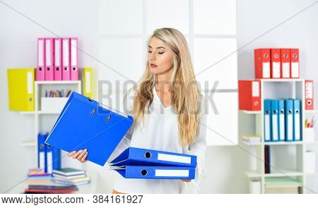 Female Business. Business Woman Work In Office With Documents. Female Career. Organized Office Work.