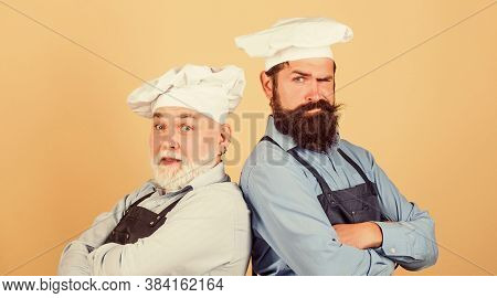Nice Taste. Serious Men In Cook Hat. Mature Bearded Chef. Tired Of Cooking. Masters Of Kitchen. Who