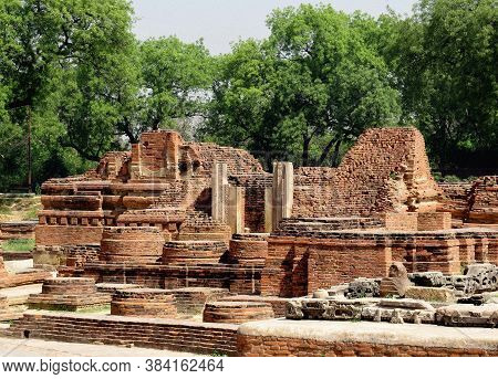 Ruins Of Ancient Buildings, Temple And Buddhist Stupas Of The Ancient City Of Sarnath - The Place Of