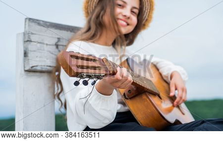 Have Fun On Party. Guitar Player Or Guitarist. Singer With Guitar. Girl Playing Guitar. Musical Scho