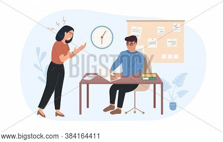 Lady Boss Is Dissatisfied With The Work Of The Employee. The Leader Shouts At The Subordinate. Worke