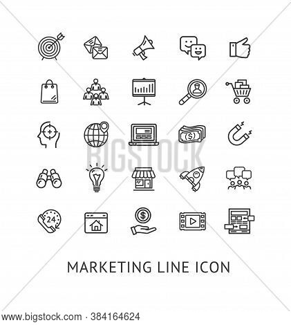 Inbound Marketing Black Thin Line Icon Set Include Of Computer, Rocket And Email. Vector Illustratio