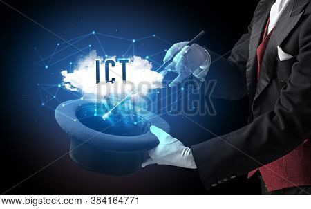 Magician is showing magic trick with ICT abbreviation, modern tech concept