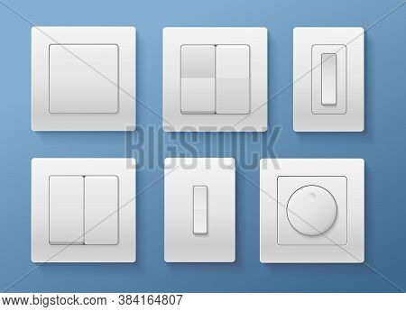 Realistic Detailed 3d Switch Set Different Type On A Blue Background. Vector Illustration Of White S
