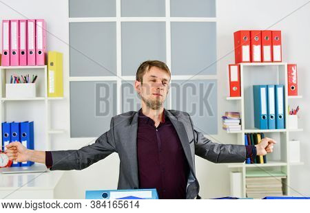 Man Lawyer Stretching Muscles Sit Table Exhaust With Too Much Work, Overwork Problem Concept