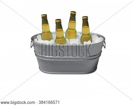 3d Rendering Concept Of Chilled Alcohol In Bucket With Ice On White Background No Shadow