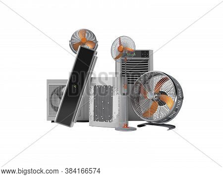 3d Rendering Concept Of Cooling In Heat Ventilators And Air Conditioners Against White Background No