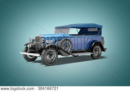 Classic Retro Car Blue Isolated 3d Rendering On Blue Background With Shadow