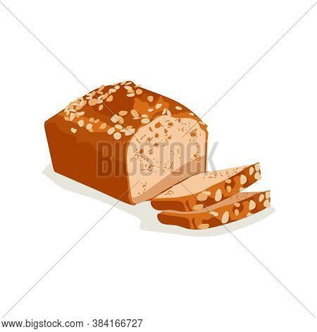 Whole Grain Sliced Wheat Bread. Freshly Baked Nutritious Pastry Product Flat Vector Illustration On