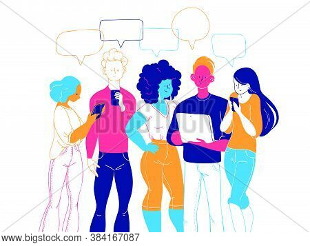Young People Standing Together Looking At Smartphones, Notepad And Tablet Reading News, Chatting, Di