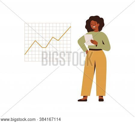 Black Businesswoman Holds A Tablet Pc And Looks At The Ascending Graph Or Trend. Business Goal Achie