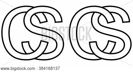Logo Sign Sc Cs Icon Sign Two Interlaced Letters S, C Vector Logo Sc, Cs First Capital Letters Count