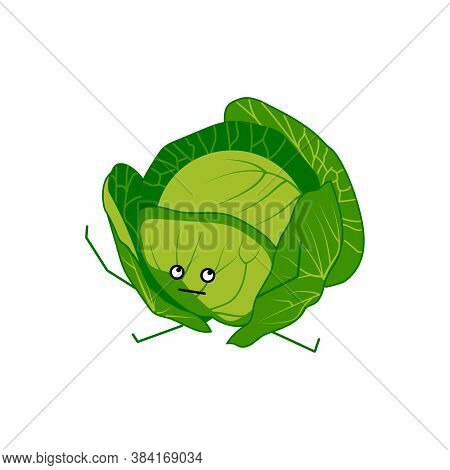 Cute Cabbage Cartoon Character. Kawaii Green Nutritious Vegetable With Funny Face. Natural Vegetaria