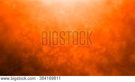 Grunge Orange Smoke Background Texture. Autumn Background. Abstract Dark Halloween Flyer. Orange And