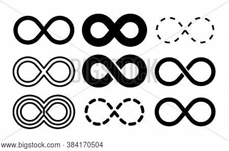 Infinity Symbol. Mobius Infinite Arrow Icon Set. Endless Thin Linear Image. Vector Repetition And Un