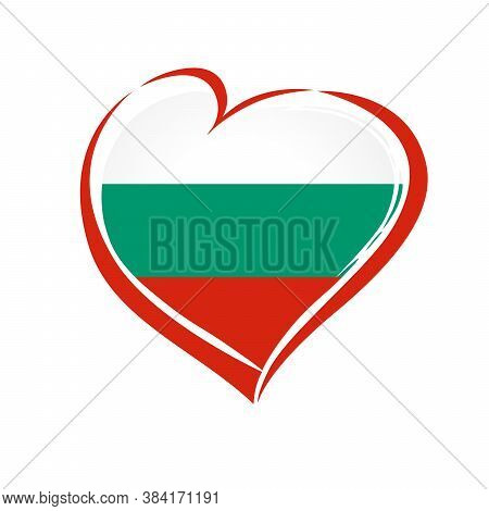Love Bulgaria Emblem Colored. Bulgarian Independence Day With Flag In Red Heart In National Colors.