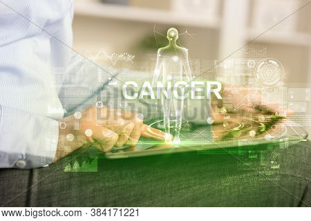 Electronic medical record with CANCER inscription, Medical technology concept