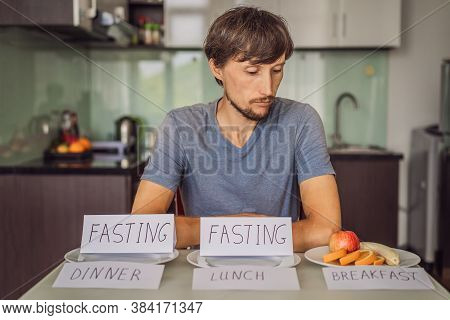 Intermittent Fasting During Lunch And Dinner. Intermittent Fasting Concept, Top View