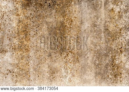 Vintage Grunge Background With Shades Of Rust On The Old Concrete Wall, Cracks And Textures Of Golde
