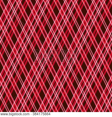 Seamless Rhombic Vector Pattern As A Tartan Plaid Mainly In Red And Pink Hues With Transparency Effe