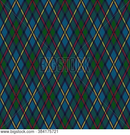 Detailed Rhomb Seamless Vector Pattern As A Tartan Plaid In Muted Blue And Green Hues With Pink And