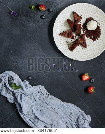 Rustic with black top view on dark background. Dark stone background. Top view. Healthy food.