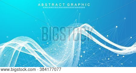 Abstract Scientific Background With Dynamic Particles, Wave Flow. Plexus Stream Background. 3d Data
